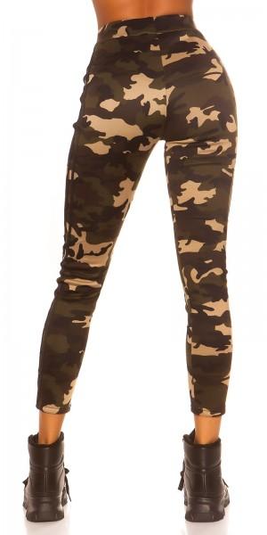 Trendy Camouflage Leggings mit Kontraststreifen