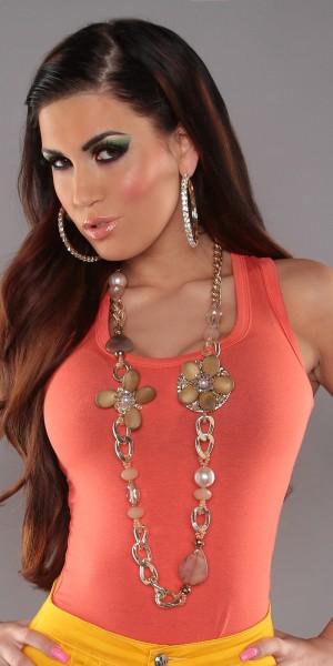 Trendy Halskette mit Perlen und Blumen