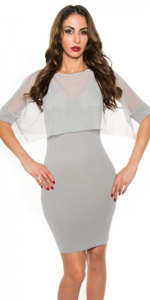 Sexy KouCla Etui Feinstrick-Kleid mit Netz