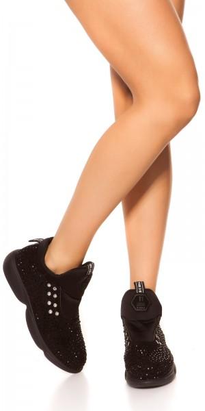 Trendy Slip On Sneaker mit Glitzernieten