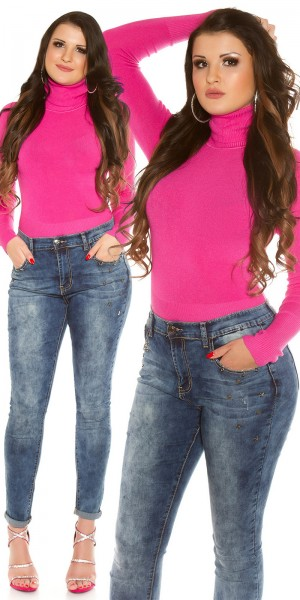 Curvy Girls Size! Trendy Acid Washed Jeans