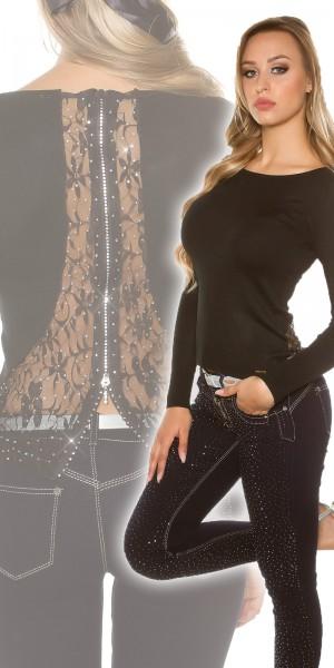 Sexy KouCla Pullover mit Strass, Spitze und Zipper