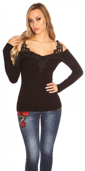 Sexy Koucla cold Shoulderpullover mit Stickerei