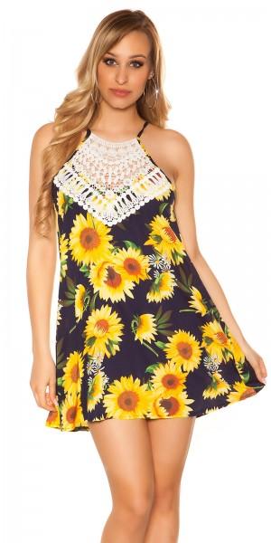 Sexy Neck Sommerkleid mit Sonnenblumen