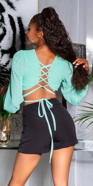 Sexy Bluse Rückenfrei mit Schnürung