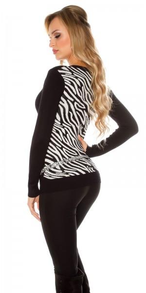 Sexy KouCla V-Pulli mit Zebramuster