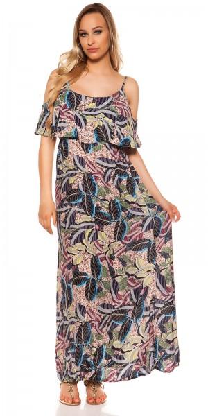 Sexy Maxi Träger Sommerkleid mit Print