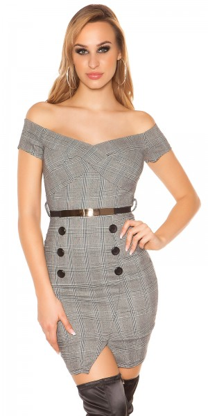 Trendy Business Look Kleid kariert mit Gürtel