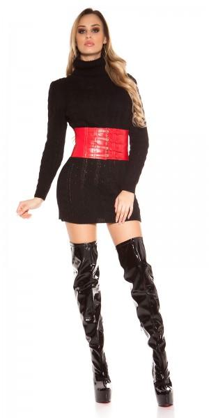 Sexy Rollkragen Zopfmuster Pulli/Kleid