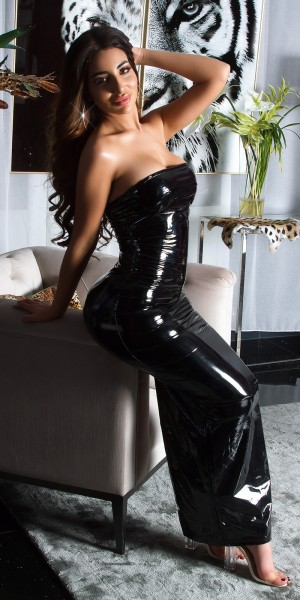 Sexy Bandeau Latexlook  Long Dress