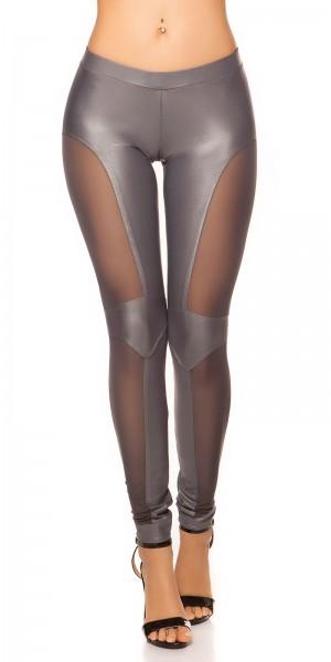 Sexy KouCla Leggings mit Netz-Applikationen