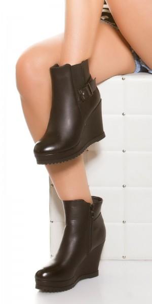 Trendy Keilabsatz Stiefelette mit Schnalle