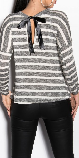 Sexy KouCla Feinstrick-Shirt mit Satinschleife