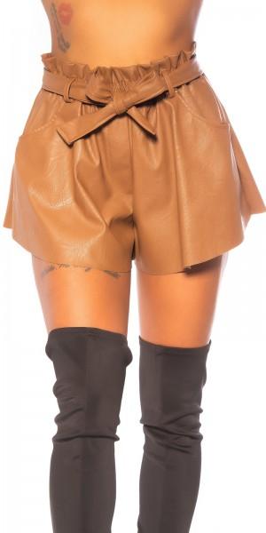 Sexy Lederlook Shorts mit Gürtel