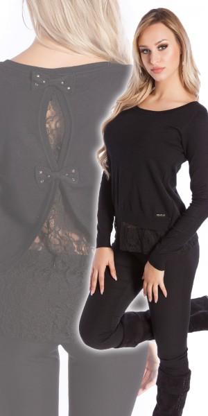Sexy Koucla 2in1 Pullover mit Schleifen und Spitze