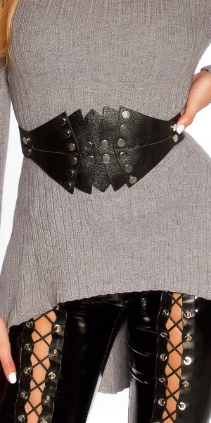 Trendy Taillengürtel Lederlook mit Nieten