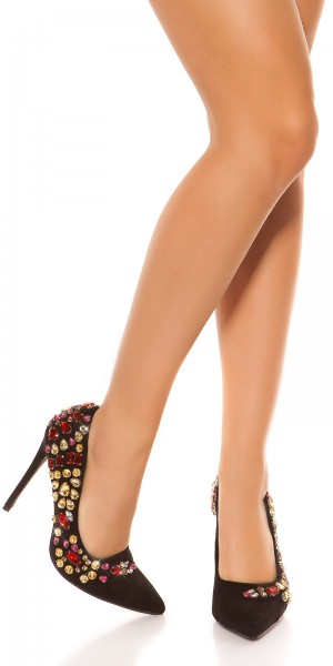 Sexy High Heels Wildleder Look mit XL Strass