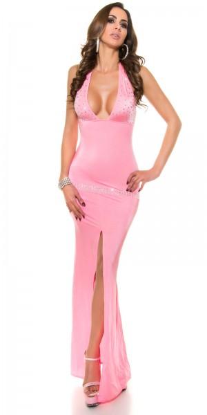 Sexy Kleid mit Schlitz und Strasssteinen