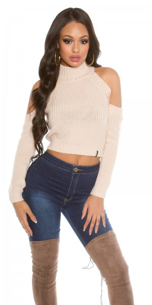 Sexy KouCla Cold Shoulder Crop Pullover