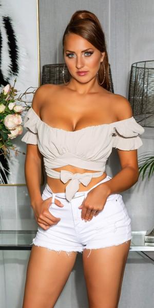 Sexy Off-Shoulder crop top zum Binden