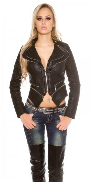 Sexy Lederlook Jacke mit Spitze und Zips